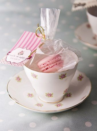 Tea and macarons party tea party for Teacup party favors