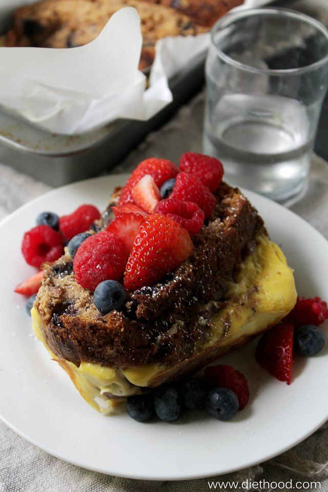 Banana Bread Stuffed French Toast | www.diethood.com | Banana Bread filled with a sweet ricotta mixture and baked in a deliciously rich custard. | #recipe #frenchtoast #breakfast
