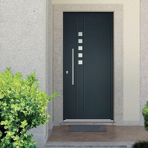 Porte D'Entrée Aluminium Emalu Malibu. Disponible En Gris Ou Blanc