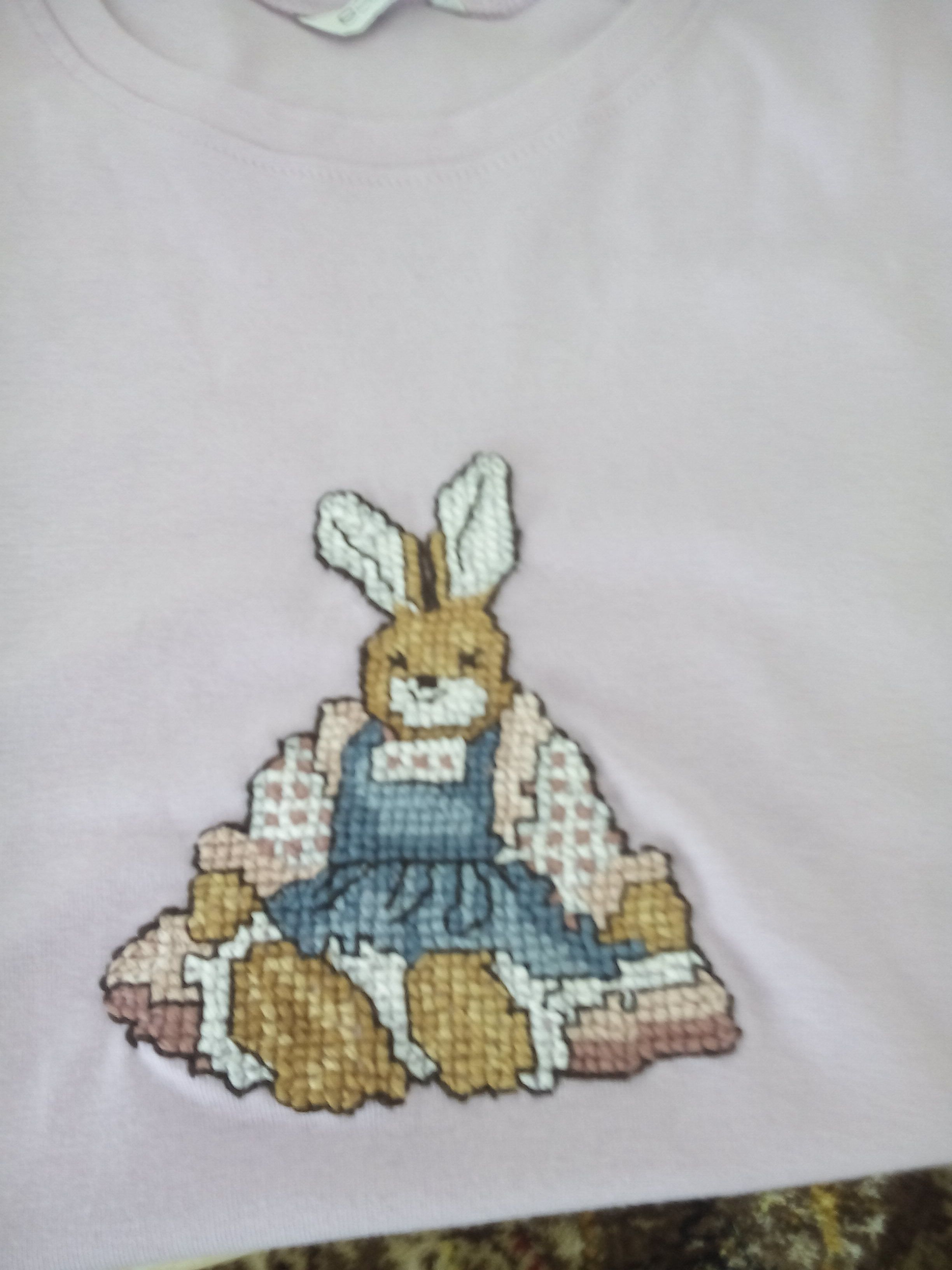 Waste canvas worked in cross stitch onto a t-shirt