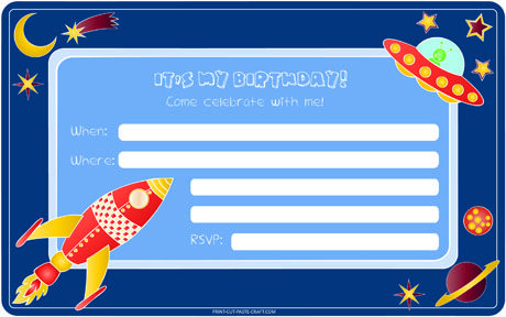 Free printable Space Themed Birthday Invitation at Print-cut-paste ...