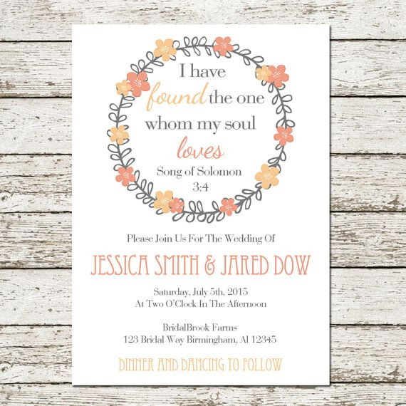 Bible verse printable wedding invitation by sweetteaandacactus items similar to bible verse printable wedding invitation song of solomon 3 4 digital file christian quote love floral pink peach inspirational card cards stopboris Choice Image