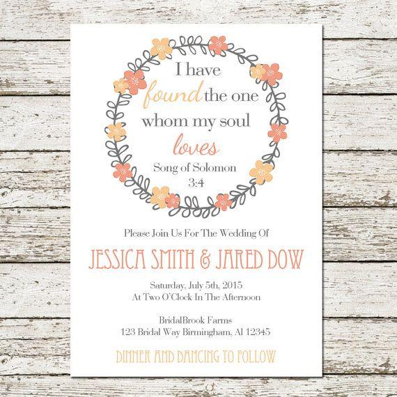 Bible Verse Printable Wedding Invitation By Sweetteaandacactus