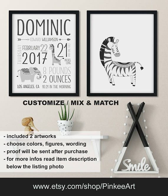 Monochrome jungle baby room decor jungle birth announcement monochrome jungle baby room decor jungle birth announcement safari nursery decor monochrome personalized negle