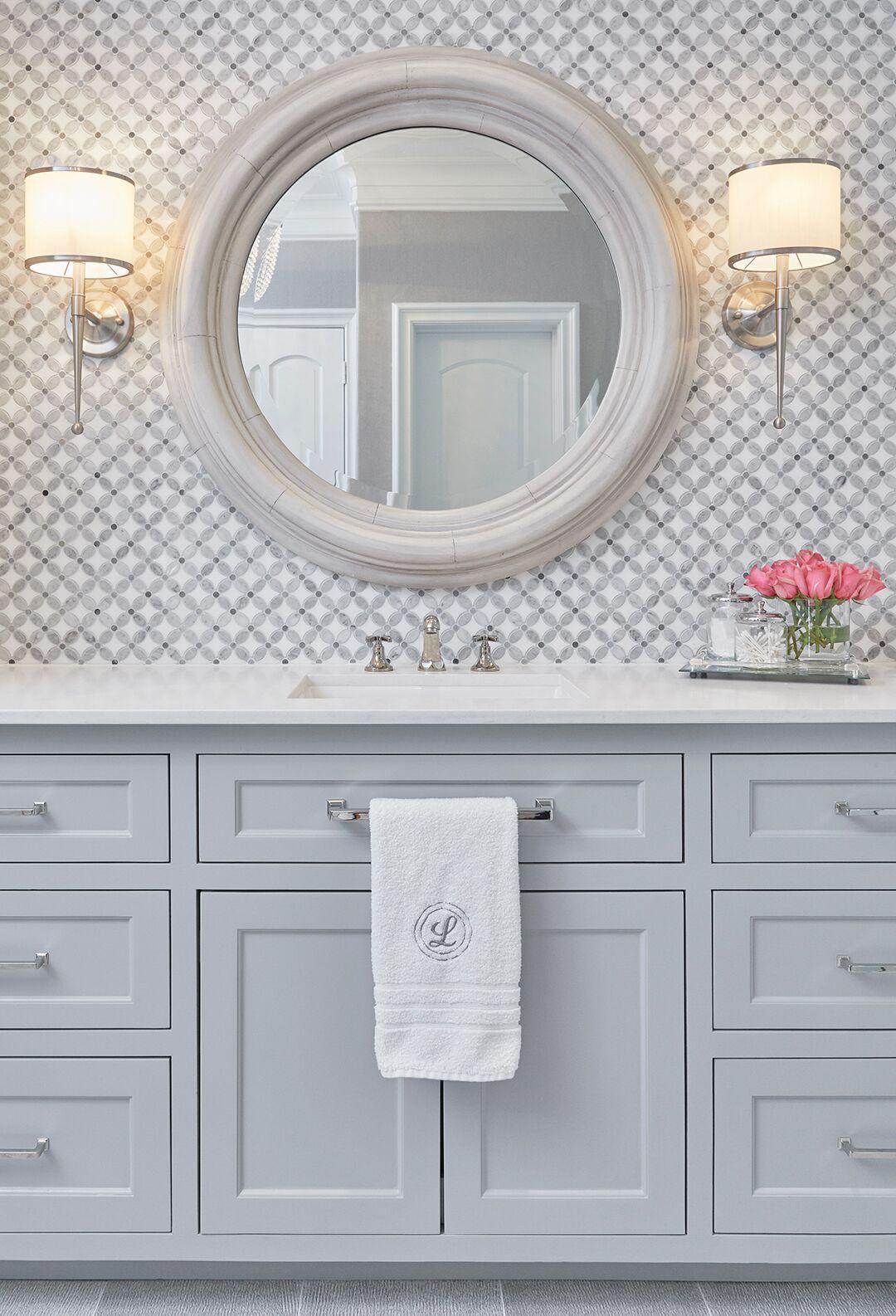 Master Bathroom Marble Mosaic Vanity Tile Backsplash With Gray Painted Vanity Lights And Round Mirror Bathr Painting Bathroom Bathroom Mirror Marble Bathroom