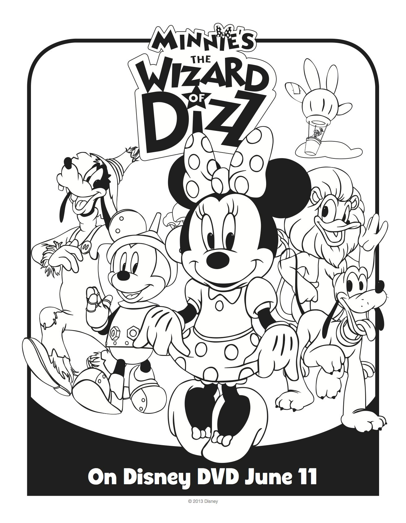 Disney Minnie Mouse Wizard of Dizz Printable Coloring Sheet ...