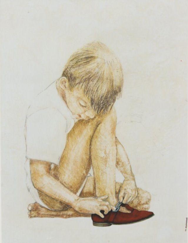 <Niño con zapato rojo> óleo sobre tabla
