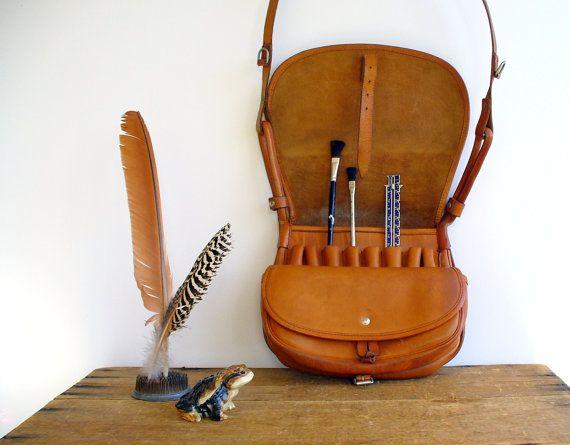 Vintage messenger bag leather fly fishing bag men for Fly fishing bag