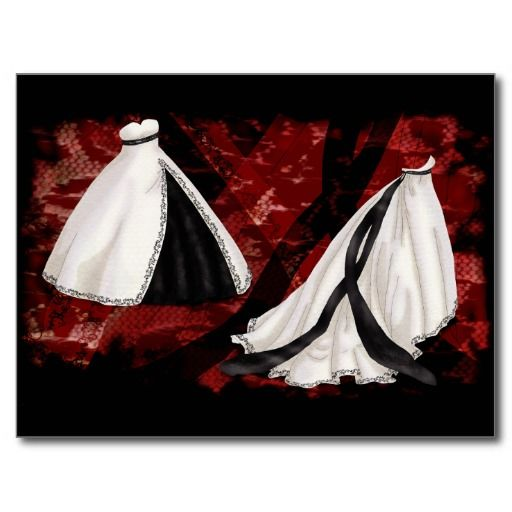 Black and White Wedding Gown Post Card