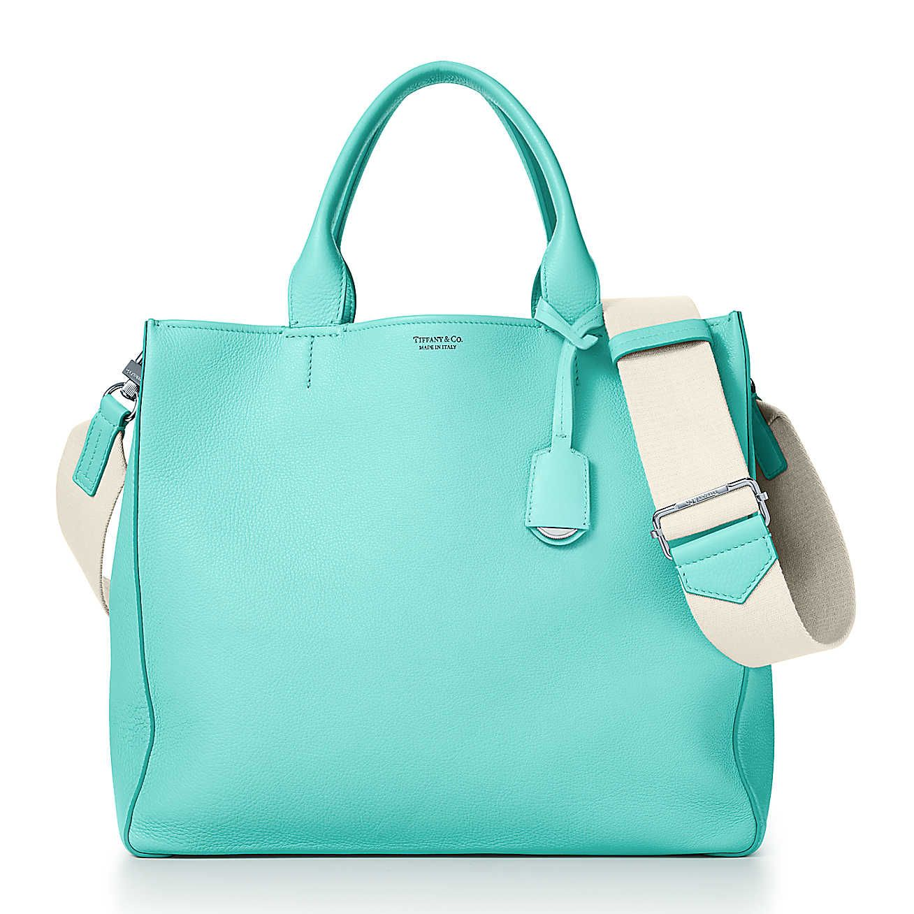 Color Block womens tote in off-white and Tiffany Blue grain calfskin leather Tiffany & Co. xrA48k