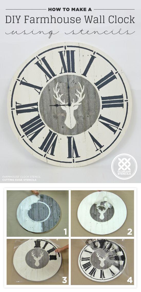 How To Make A DIY Farmhouse Wall Clock Using Stencils | Deer Cards Deer Farm House Design Html on