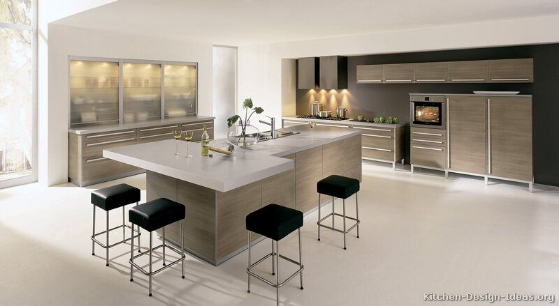 Modern Light Wood Kitchen cabinets. Light greige. Slab front. More ...