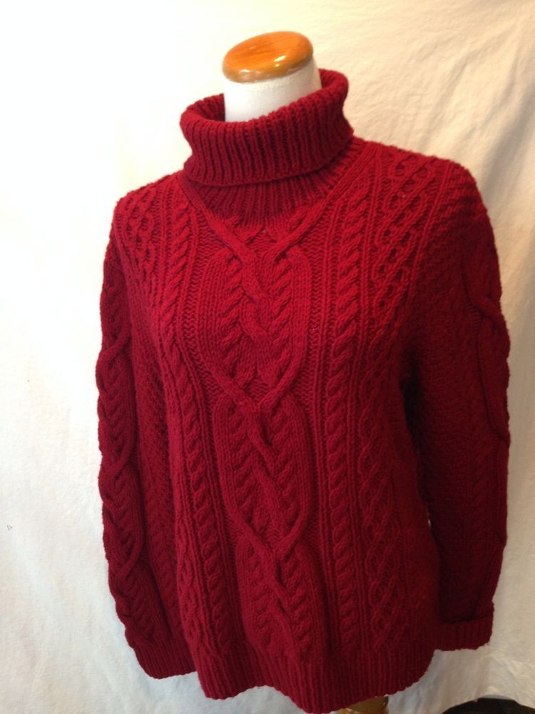 RALPH LAUREN dark red wool blend FISHERMAN turtleneck sweater ...