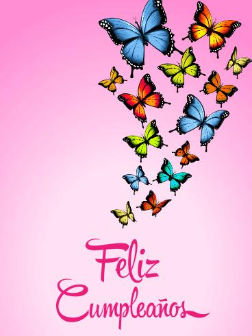 Butterfly Happy Birthday Card In Spanish Feliz Cumpleaos