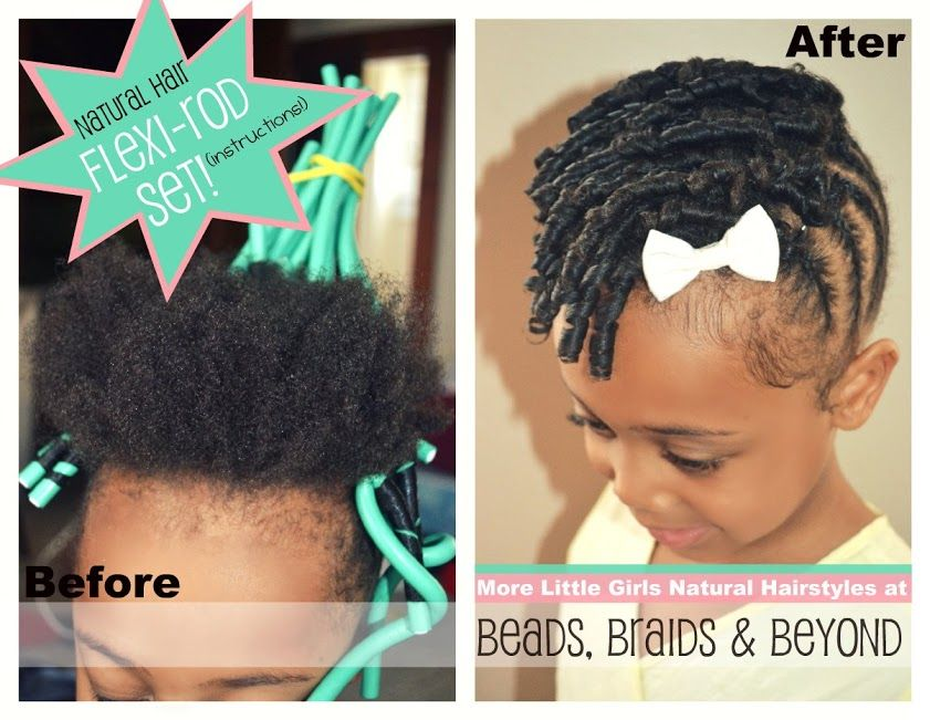 Little Girls Natural Hairstyle Flexi Rod Updo With Cornrows
