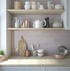 Wickes Soho Dusky Pink Ceramic Wall Tile 300 X 100mm Wickes Co Uk These Tiles Though Pink Kitchen Walls Kitchen Wall Tiles Pink Kitchen