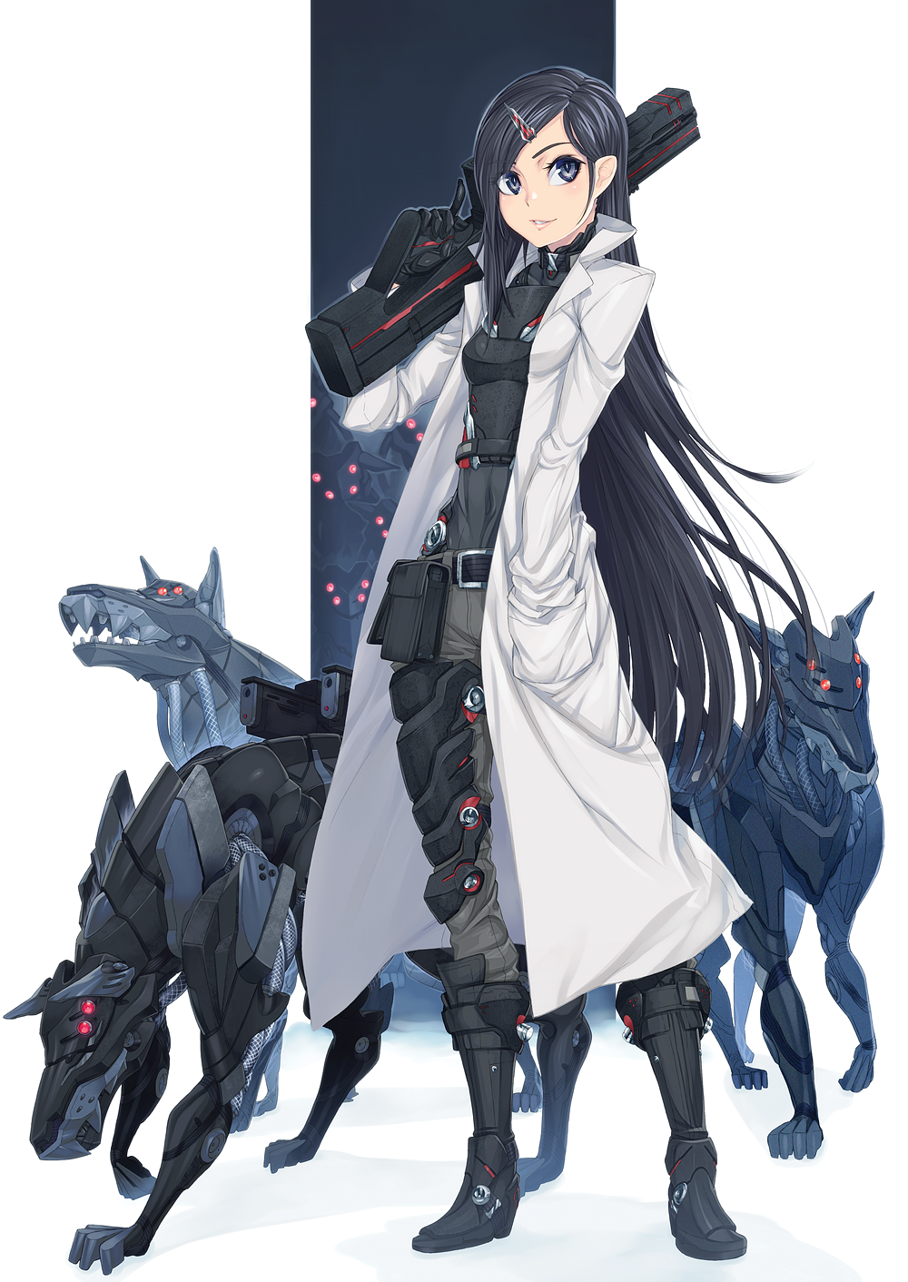 Woman in a Lab Coat with mechanical dogs in 2020