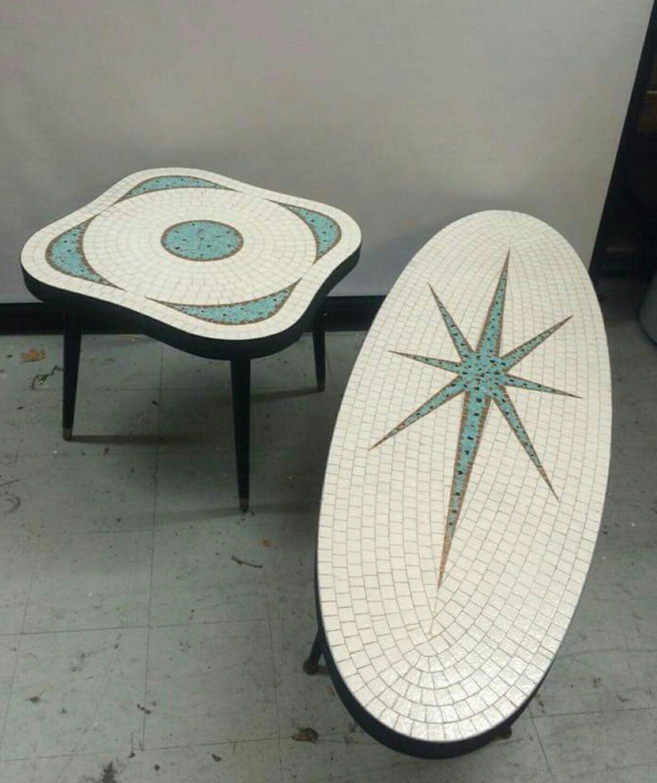 Vintage mid century 1950s mosaic tile oval starburst coffee vintage mid century 1950s mosaic tile oval starburst coffee table end table geotapseo Choice Image