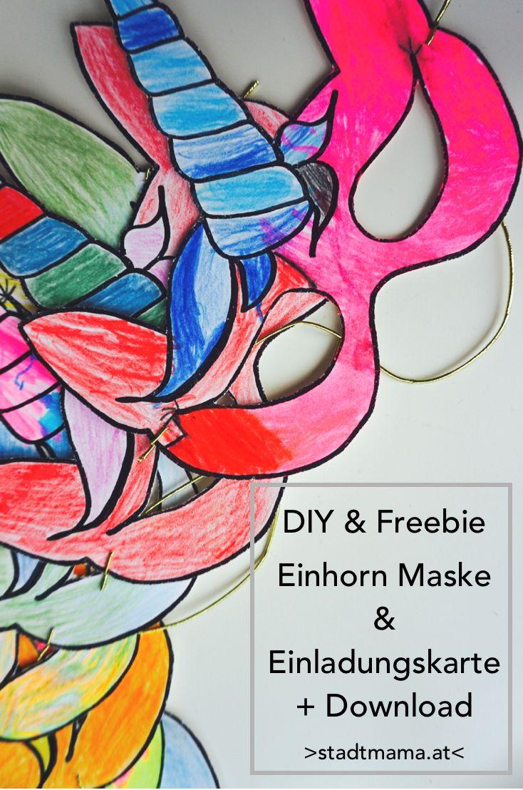 einhorn einladungskarte f r den kindergeburtstag maske basteln mit kindern. Black Bedroom Furniture Sets. Home Design Ideas