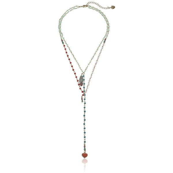 """Betsey Johnson """"Betsey's Delicates"""" Mixed Bead Layered 2 Row Necklace,... ($48) ❤ liked on Polyvore featuring jewelry, necklaces, heart jewelry, multicolor necklace, betsey johnson necklace, bead necklace and heart shaped necklace"""