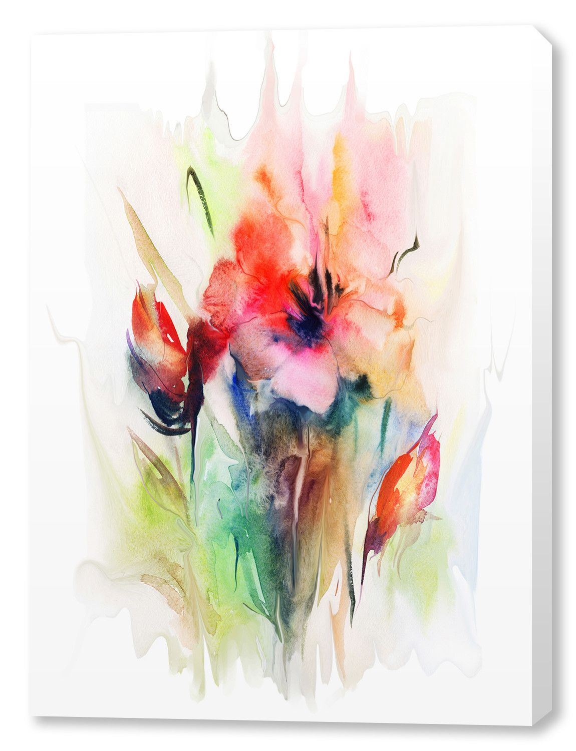 In Bloom Painting Print On Wrapped Canvas Contemporary Art Canvas Red Art Print Watercolor Illustration