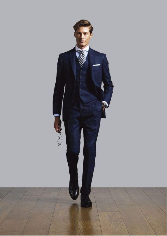 結婚式 スーツ · ウィンドウペンチェックスーツ,ネイビー,navy blue suit