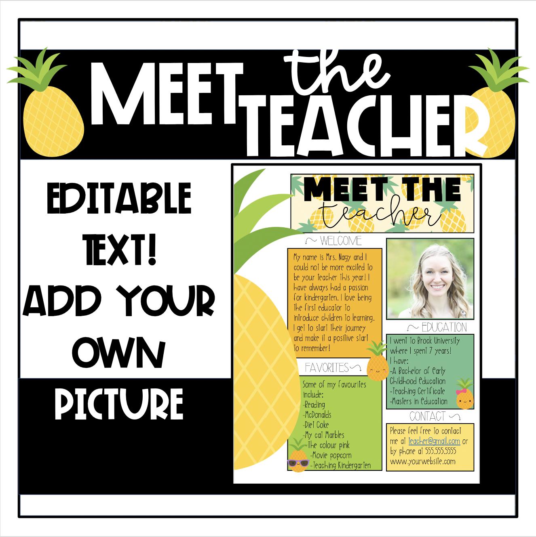 Pineapple Meet The Teacher Template