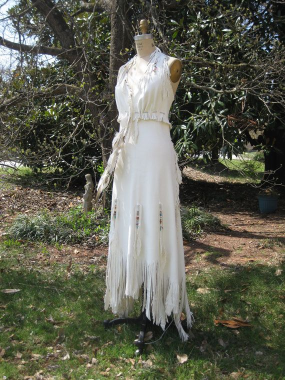 white leather wedding dress native american inspired boho wedding