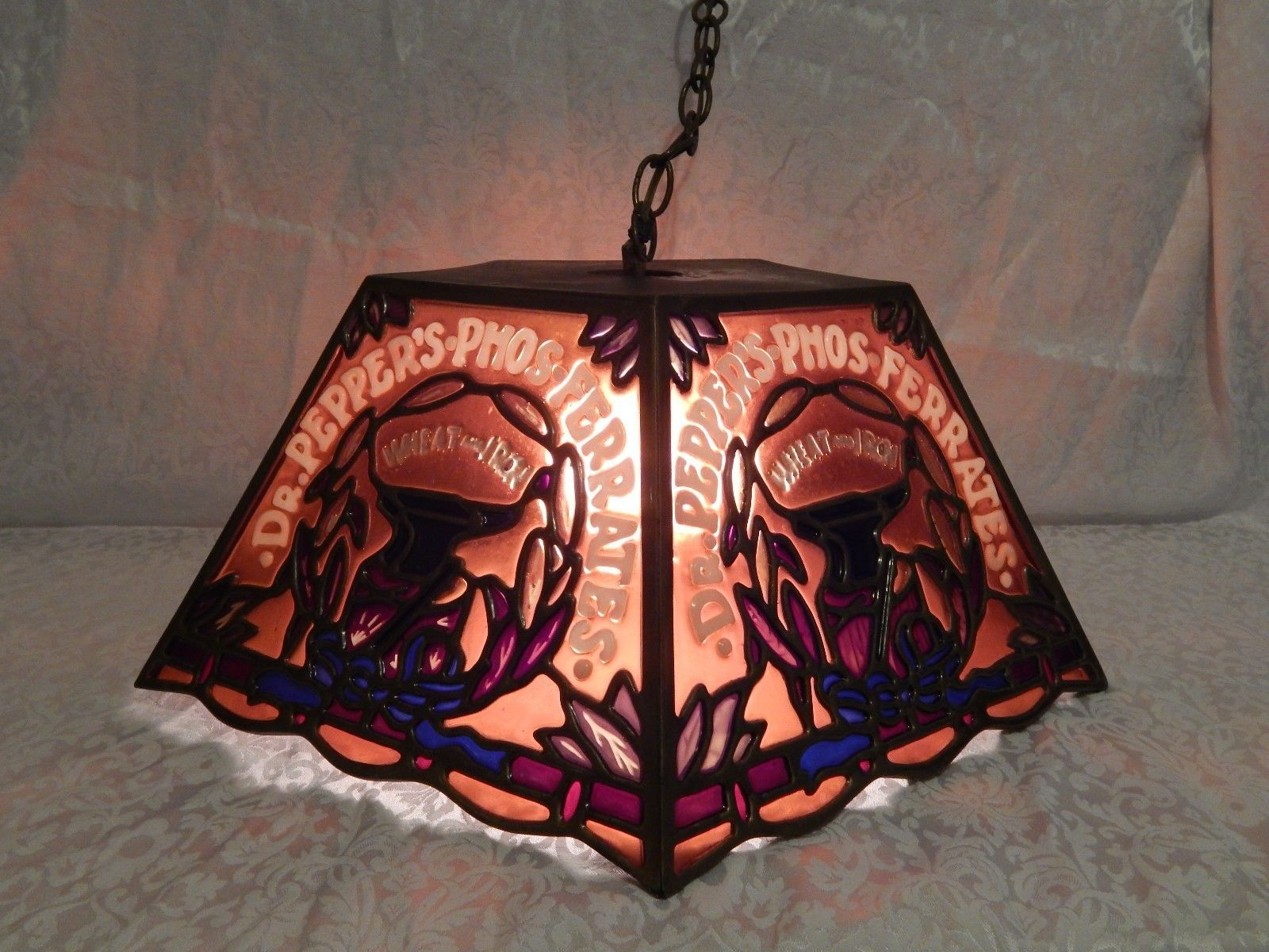 High Quality RARE Vintage Dr Pepperu0027s Phos Ferrates Tiffany Style Stained Glass Hanging  Lamp | EBay