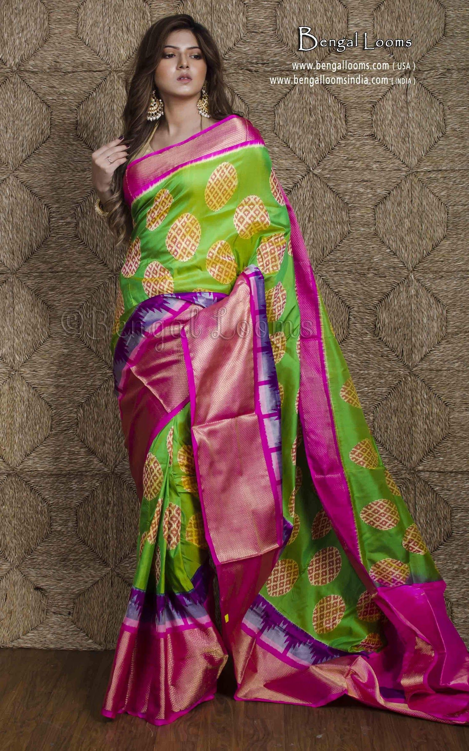 4ad91b3acb Double Silk Patola Ikkat Saree in Parrot Green and Hot Pink ...