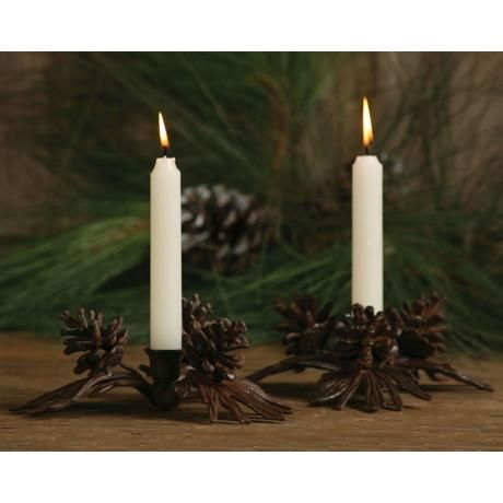 Set of Two Pine Cone Taper Candle Holders - #N7130 | LampsPlus.com