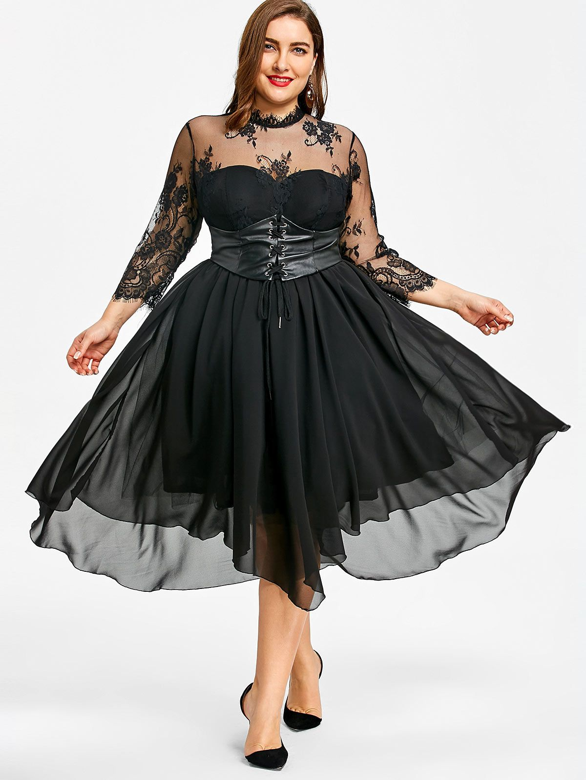 4835f65ef8eda Plus Size Lace Panel Gothic Dress in 2019 | clothes | Gothic dress ...
