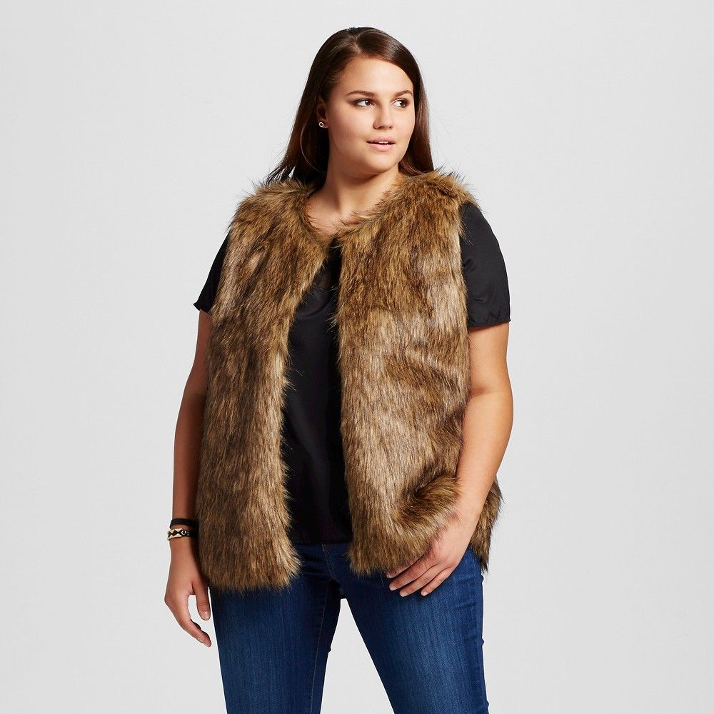 Women's Plus Size Faux Fur Vest Brown 1X K by Kersh