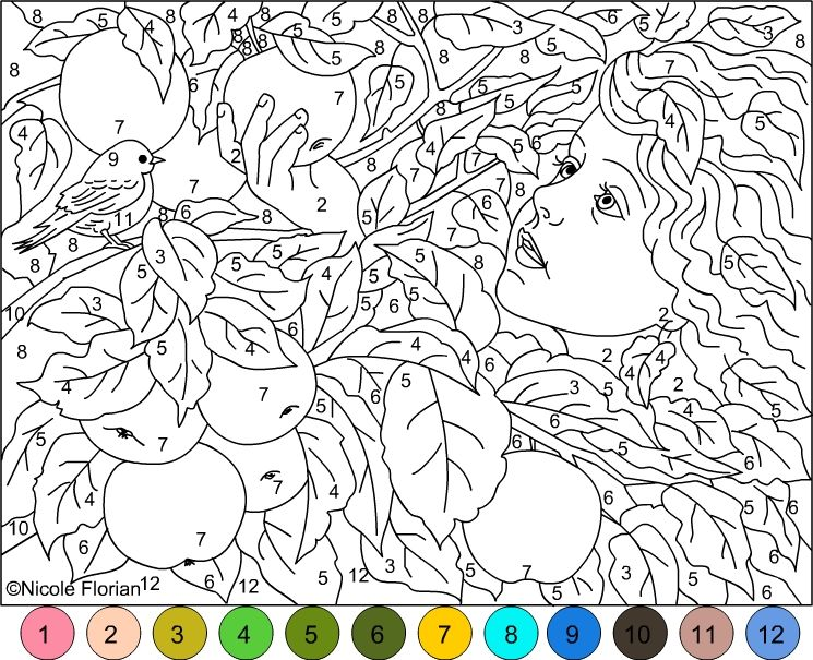 Nicoles Free Coloring Pages COLOR BY NUMBER  GOLD APPLES GARDEN