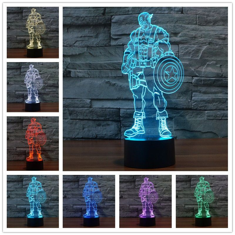 Usb Led 3d Lamp Foreign Trade America Colorful 3 D Three Dimensional Visual Light Creative Light Touch Switch 3d Lamp 3d Lamp 3d Led Lamp 3d Led Light