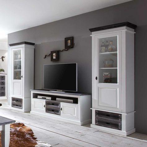 landhaus wohnwand in weiß grau aus fichte bei pharao24.de finden ... - Wohnwand Grau Ideen