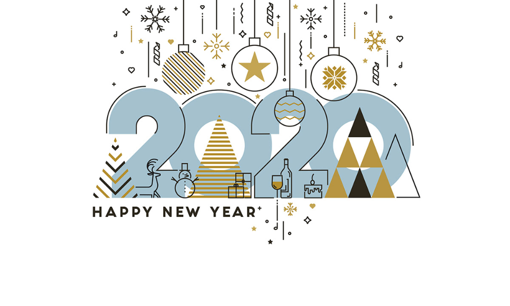 Flat Line Design Concept Banner Happy New Year 2020 On Behance In 2020 New Year Card Design Happy New Year Vector Happy New Year Design