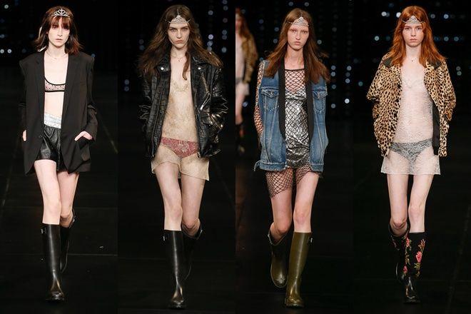 Nhiều mẫu lộ ngực với váy khoét quá đà ở show Saint Laurent - VnExpress Giải Trí
