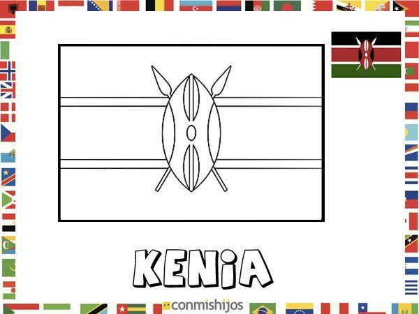Bandera De Kenia. Dibujos De Banderas Para Pintar