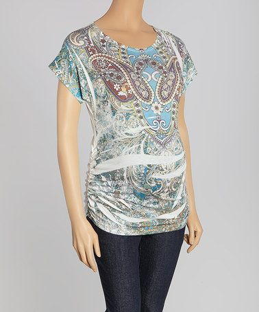 Love this Aqua Paisley Sublimation Maternity Scoop Neck Top - Women on #zulily! #zulilyfinds