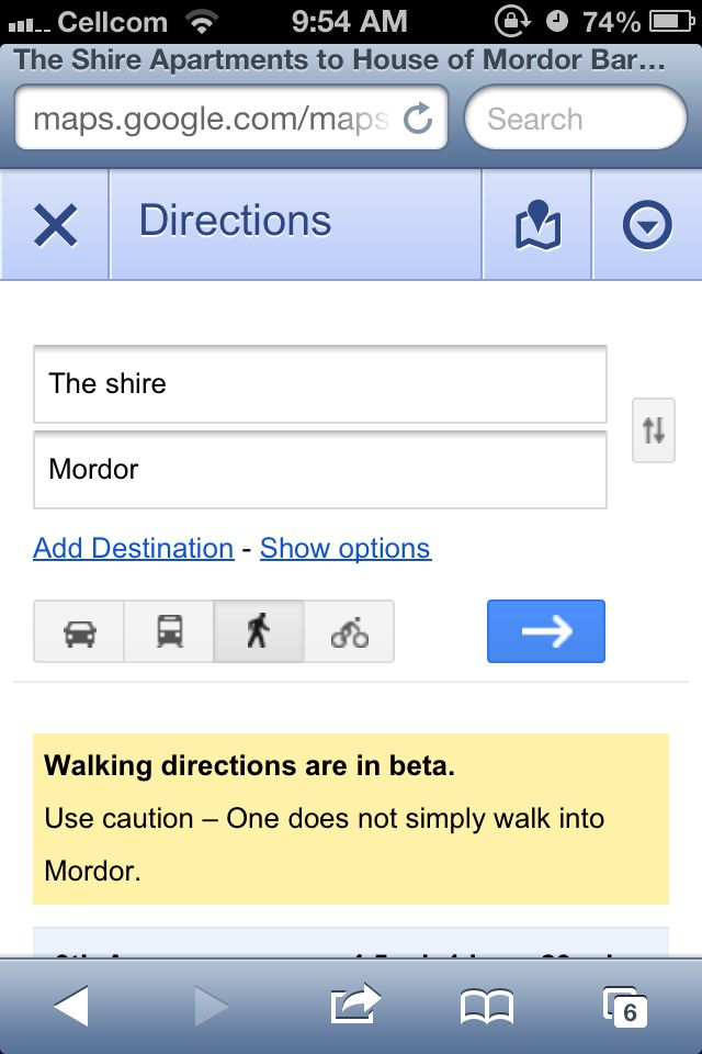 Google Maps From The Shire To Mordor And Hit Walking Directions - Get walking directions google maps