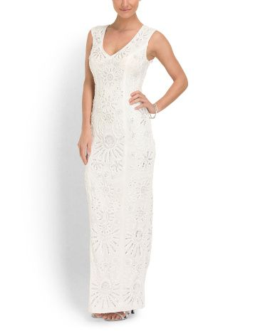 Sue Wong V Neck Ribbon Embroidered Gown Dresses TJMaxx 179 - Tj Maxx Wedding Dress