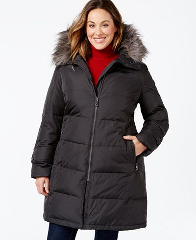 2253dbea682 Calvin Klein Plus Size Hooded Faux-Fur-Trim Quilted Down Puffer Coat ...