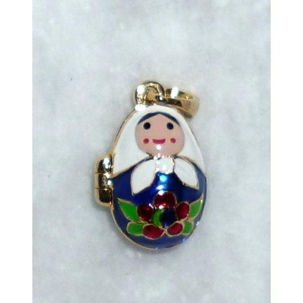 Babushka in blue #babushka #russiandoll #matryoshka #dollsindolls #pendant #faberge #handmade #jewelry
