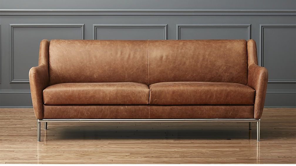 Alfred Distressed Brown Leather Sofa Reviews Cognac Leather