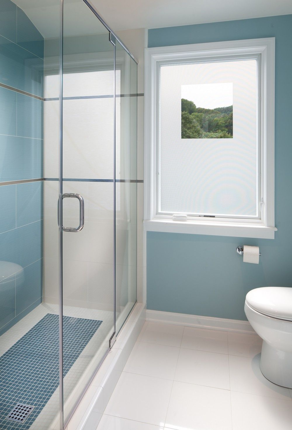 Clean blue bathroom design with glass shower doors | Anthony Wilder ...