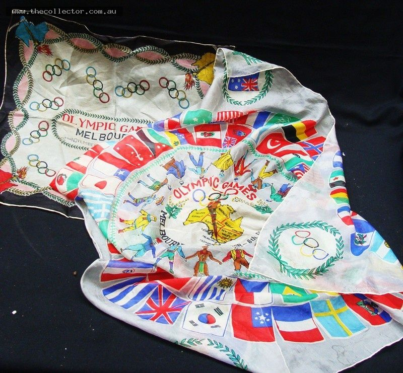 2 x Melbourne  1956 Olympic Games silk scarves