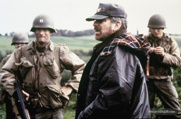 Saving Private Ryan behind the scenes photo of Tom Hanks & Steven Spielberg