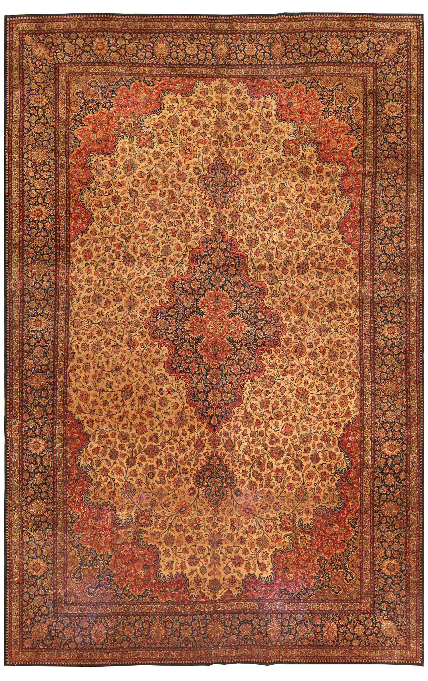 Large Vintage Persian Qum Rug 50326
