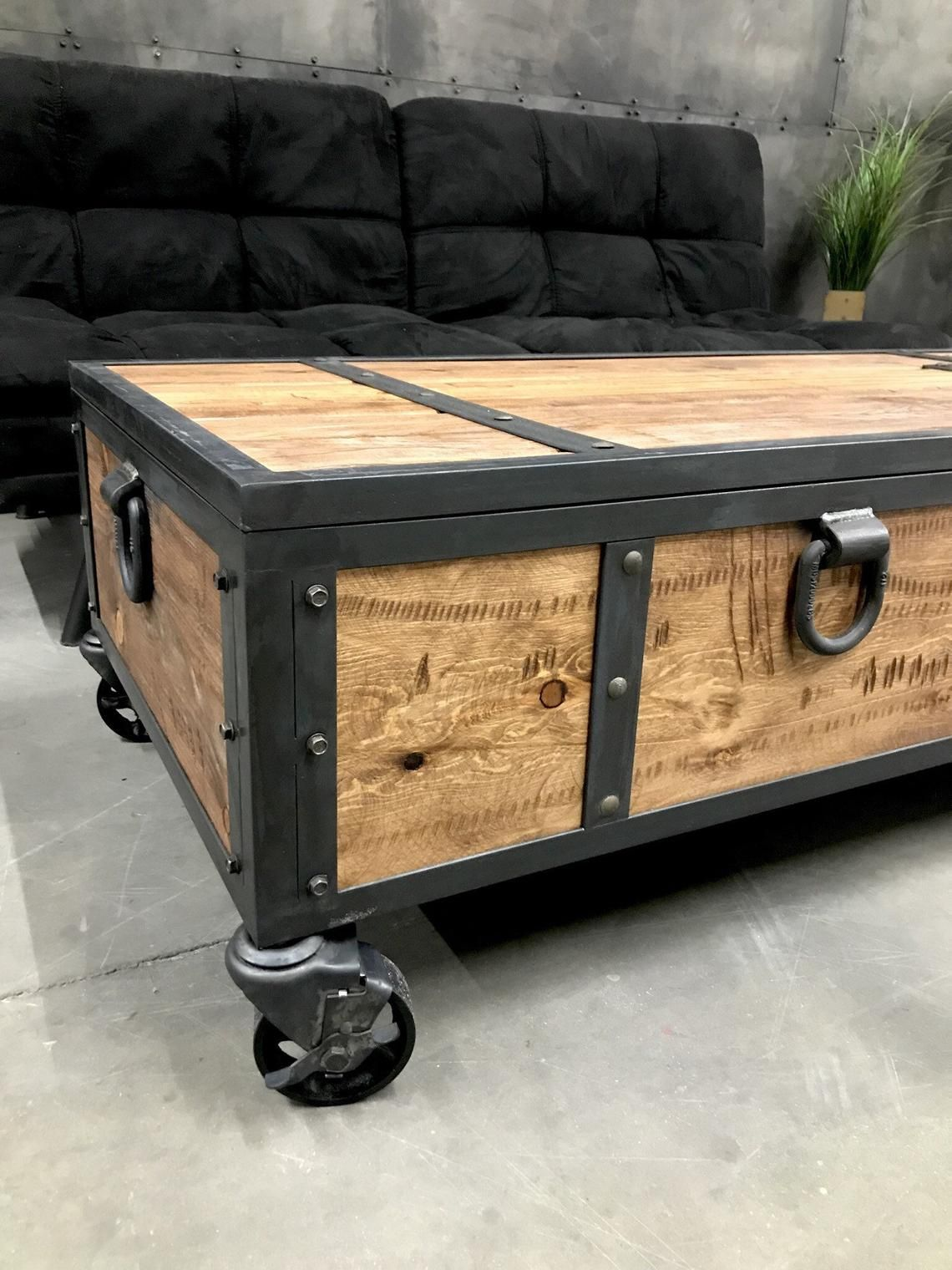 Industrial Locking Chest Rustic Coffee Table Storage Bench Etsy Rustic Coffee Tables Rustic Storage Bench Coffee Table Wood